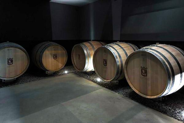 Fûts de vins au sous-sol de La Nouvelle cave