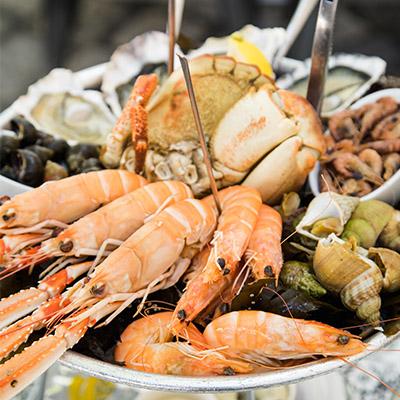 Fruits de mer et crustacés en automne